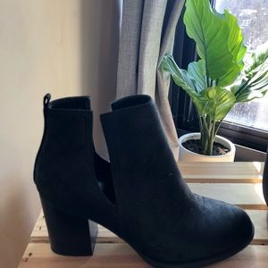 Faux Suede Side Cutout Booties